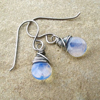 Blue Earrings Sea Opal Glass Sterling Silver Jewelry