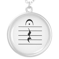 Music Notation Rest Blank Custom Necklace from Zazzle.com