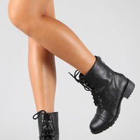Soda Sign-S Lace Up Military Ankle Bootie