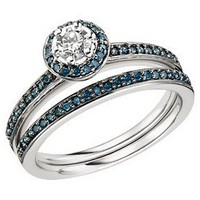 1/2 Carat Blue  White Diamond 14K White Gold Bridal Engagement Ring  Wedding Band Set
