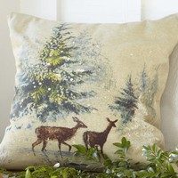 Deer in Snow Pillow Cover