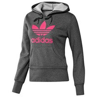 Adidas Originals Women's Trefoil Hoody Hoodie Sweatshirt-Dark Gray