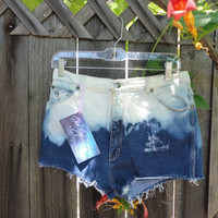 Ombre me hipster- High-waist denim ombre shorts