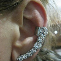 Ear Sweep Wrap - Cuff Earring with Crystal - NR1 | blucky - Jewelry on ArtFire