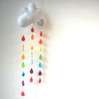 Rainbow Raindrops Cloud Mobile A Funky Felt by therainbowroom