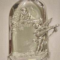 Home Decor Antique Silver Plaque by WMF with Fairy, Angel, Cherubim and Floral Details and Signed