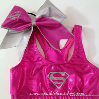 Girl of Steel Super Hero Metallic Sports Bra by SparkleBowsCheer