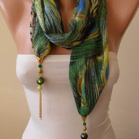 Unique Green Chiffon Fabric with Golden Sequins - Beads and Chain - Jewelry Scarf
