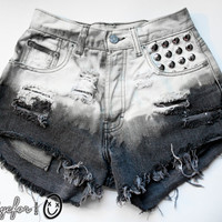 Bleached Ombre Studded High Waisted Denim Shorts Calvin Klein Vintage Cut Off Jeans