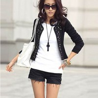 Fashion Korea Style Rivet Embellished Coat For Women 