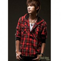 Casual Style Long Sleeves Plaid Hooded Shirt For Man China Wholesale - Everbuying.com