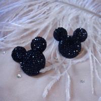 Black Mouseketeer Stud Earrings by imyourpresent on Etsy