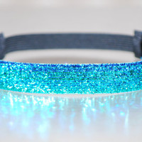"3/4"" Blueish (Mix of Aqua Teal Royal Glitter) Glitter Headband - Non Slip Super Grip - High Quality Headband - Made-to-Order"