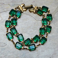 Emerald Green Vintage Victorian Holiday Bracelet