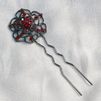 Vintage Crimson Red Gothic Rose U Stick Hair Pin (1)