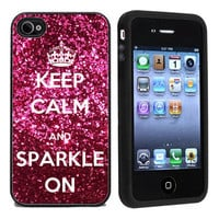 Keep Calm & Sparkle On Apple iPhone 4 or 4s 5 Case / Cover Verizon or At&-HOT