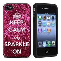 Keep Calm &amp; Sparkle On Apple iPhone 4 or 4s 5 Case / Cover Verizon or At&amp;-HOT