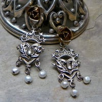 Sterling Crown Thistle Pearl Rose Earrings
