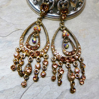 80's Vintage Christmas Topaz Chandelier Earrings