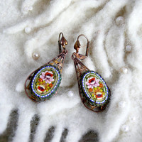 Vintage Deco Nouveau Micro Mosaic Earrings, Artisan Upcycled