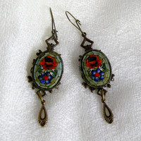 Victorian Vintage Micro Mosaic Filigree Earrings, Ciao Bella II