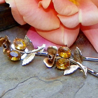 Christmas Holiday Vintage Gold Rose Hair Pins, Van Dell 30 40's