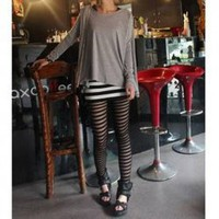 Black Strips Pattern Hollow Leggings China Wholesale - Everbuying.com