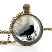 Raven Pendant Necklace - Bird Jewelry - Glass Photo Pendant - Antique Style Raven and Moon Art Jewellery - Gift Bag Included