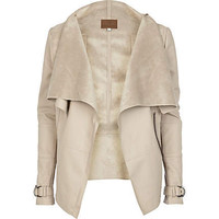 Cream leather look waterfall jacket