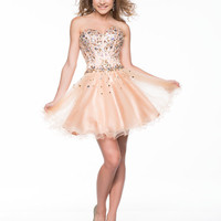 Nude Beaded Tulle Strapless Sweetheart Short Prom Dress - Unique Vintage - Cocktail, Pinup, Holiday & Prom Dresses.