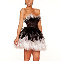 Black &amp; White Ombre Feather Strapless Empire Waist Homecoming Dress - Unique Vintage - Cocktail, Pinup, Holiday &amp; Prom Dresses.