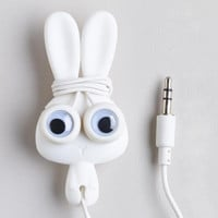 White Bunny Earbuds and Cord Wrapper