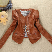 Side Lacework Brown Girls Leather Jackets : Wholesaleclothing4u.com