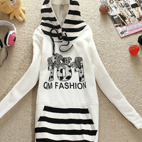 Cute Fashion White Big Stripe Pockets Hoodies : Wholesaleclothing4u.com