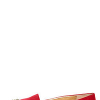 Paprika Evon Lipstick Red Gold Cap-Toe Smoking Slipper Flats