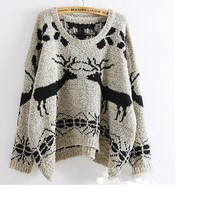 Deer Patterned Knitted Sweater on Luulla
