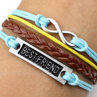 Karma-Best friend bracelet,friendship bracelet,infinity bracelet,,braid leather bracelet