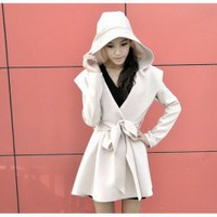 Elegant and Graceful Layered Lapel Frills Lace-Up Long Sleeves Dust Coat For Women China Wholesale - Sammydress.com