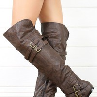 Nature Breeze Vickie16h Brown Buckled Flat Thigh Boots shop Boots at MakeMeChic.com