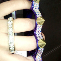 NEW The purple iRock Brass Knuckle iPhone 4/4s case with authentic Swarovski crystals & Spikes