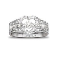 "Amazon.com: ""I Love You"" Heart-Shaped Diamond Stacking Rings by The Bradford Exchange: The Bradford Exchange: Jewelry"