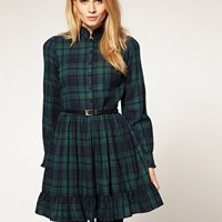 ASOS | ASOS PETITE Exclusive Check Ruffle Collar Mini Dress at ASOS