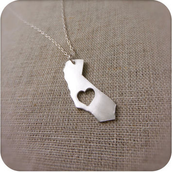California State Necklace in Silver I Love by DestinysCreations