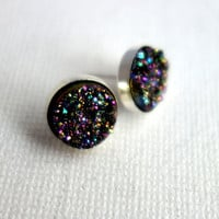 Handmade Galaxy Druzy Studs in Sterling Silver