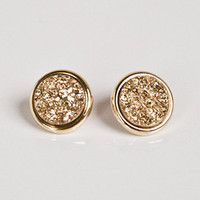 Marcia Moran Gold Druzy Stud Earrings | Rain Collection