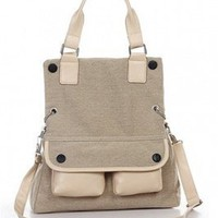 Wholesale Lady's Canvas Multi-use Messenger Bag Khaki