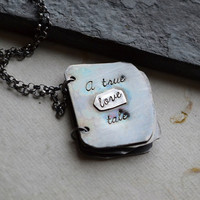 Personalized Sterling Silver Book Necklace  A by moonovermaize