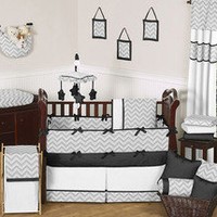 GRAY AND BLACK MOD ZIG ZAG UNISEX BABY CRIB BEDDING SET FOR NEWBORN GIRL OR BOY