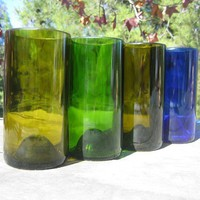 Tall recycled glasses made from wine and liquor by bottlehood