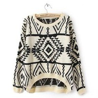 Beige Long Sleeve Geometric Pullovers Sweater FS22